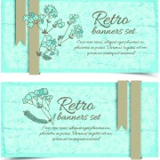 Link toRetro flowers cards vector set 01