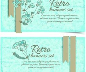 Retro flowers cards vector set 01