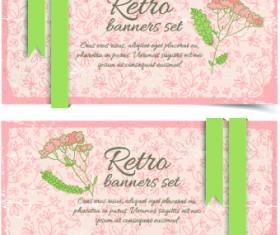 Retro flowers cards vector set 02