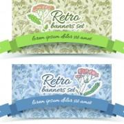 Link toRetro flowers cards vector set 03