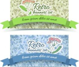 Retro flowers cards vector set 03