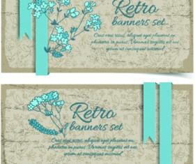 Retro flowers cards vector set 04