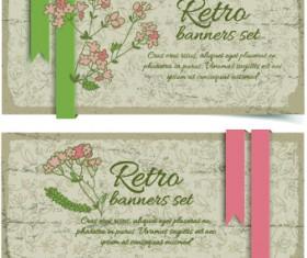Retro flowers cards vector set 05