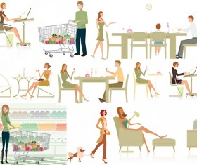 Elements of modern white-collar work and life Vector
