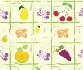 Hand painted fruit background vector