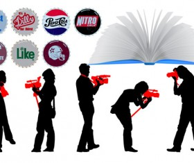 Elements of books and characters Vector