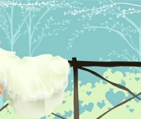 Elements of bride wedding dress Vector