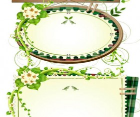 green rattan edge text frames vector