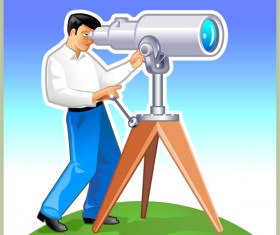Elements of man with the telescope Vector