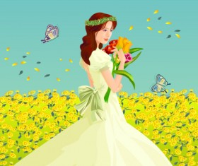 Elements of flowers in the bride Vector