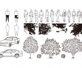 Figure automobile trees Vector