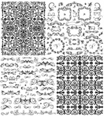 Black and white Border Floral vector