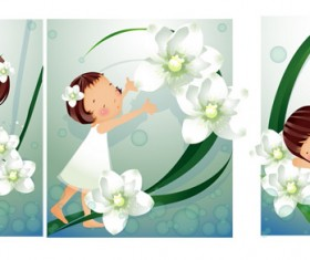 Elements of main girl white flowers 02 Vector