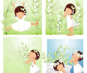 Elements of main girl white flowers 03 Vector