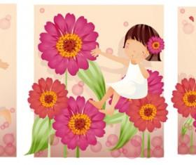 Elements of girl purple daisy Vector
