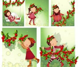 Elements of girl in red fruit Vector
