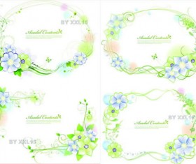 Green flowers borders vector