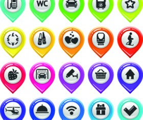 Map marker design elements vector 06