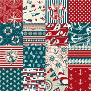 Link toDifferent nautical pattern vector set 01