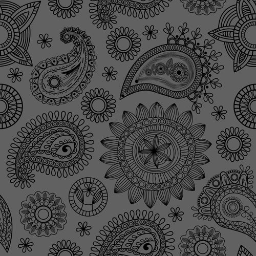 Vector paisley pattern set 05