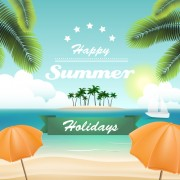 Link toPalm with beach background vector 03