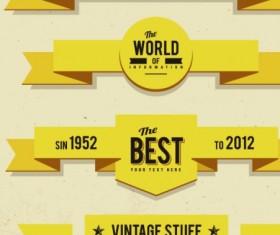 Vintage ribbons vector set 01