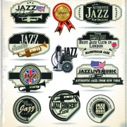 Link toRetro rock music and jazz labels vector 01