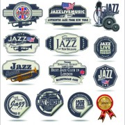 Link toRetro rock music and jazz labels vector 02