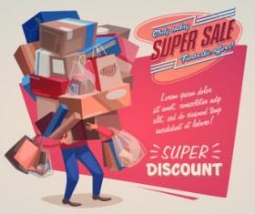 Sales promotion poster design vector 01