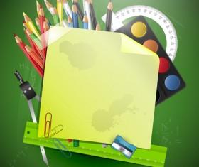 School accessories elements vector 02