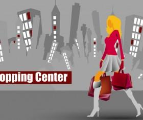 Shopping girl website design elements vector 01