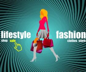 Shopping girl website design elements vector 03