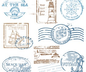 Various Travel stamps design vector 01