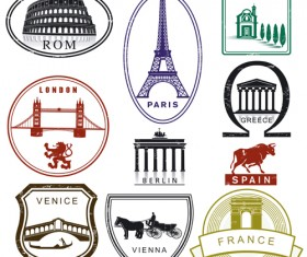 Various Travel stamps design vector 02