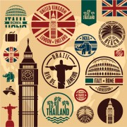 Link toVarious travel stamps design vector 04