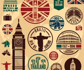 Various Travel stamps design vector 04