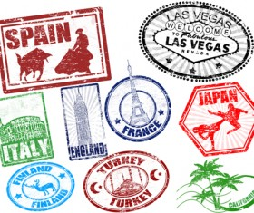Various Travel stamps design vector 05