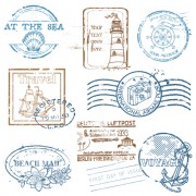 Link toVarious travel stamps design vector 06