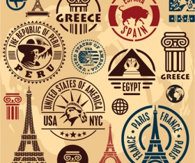 Various Travel stamps design vector 08