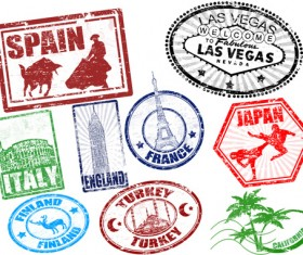 Various Travel stamps design vector 10