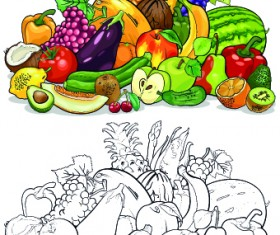 Color with sketch Fruit and vegetables vector 05