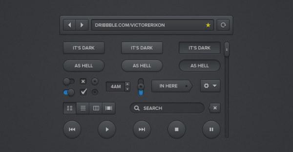 Black style psd button