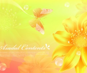 Yellow style flower background vector 01