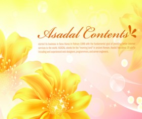Yellow style flower background vector 02