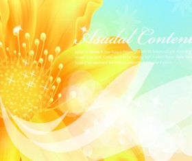 Yellow style flower background vector 03