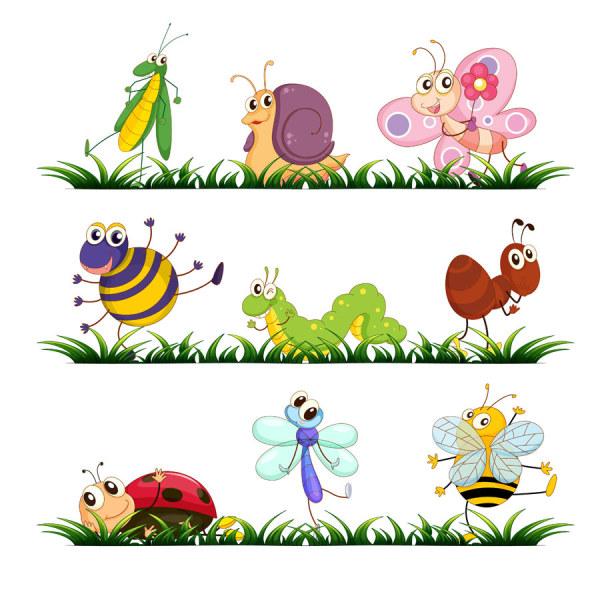 Funny Cartoon Insects vector set 01