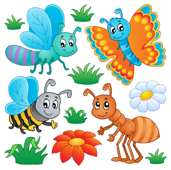 Funny Cartoon Insects vector set 03