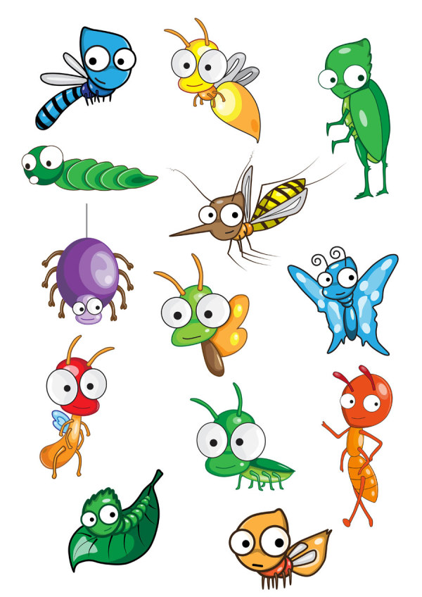 Funny Cartoon Insects vector set 05