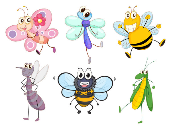Funny Cartoon Insects vector set 09