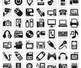 Huge collection of Black and white icons vector 01